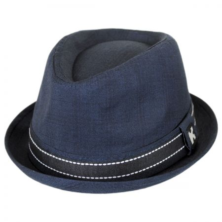Turnt Up Brim Fabric Trilby Fedora Hat alternate view 9
