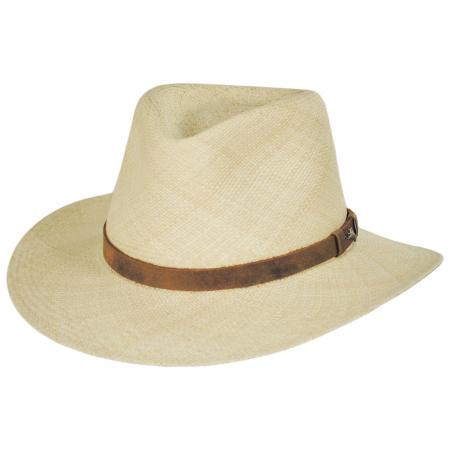 Leather Band Panama Straw Outback Hat alternate view 1