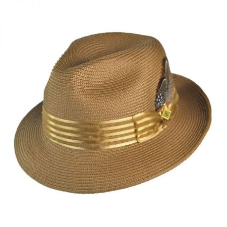 Stacy Adams Satin Striped Hat Band Fedora Hat
