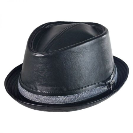 Stacy Adams Faux Leather Diamond Crown Fedora Hat