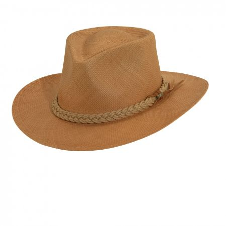 Scala Braided Band Panama Straw Outback Hat