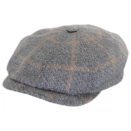 Check Linen and Wool Newsboy Cap alternate view 1