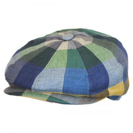 Stetson Check Patch Linen Newsboy Cap