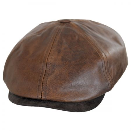 Stetson Six-Panel Leather Newsboy Cap