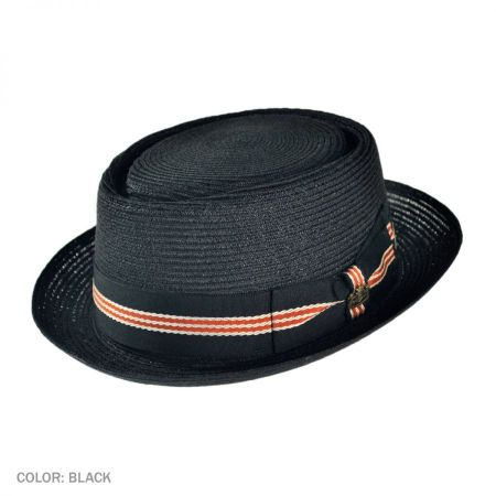 Dijon Hemp Straw Pork Pie Hat - Black alternate view 1