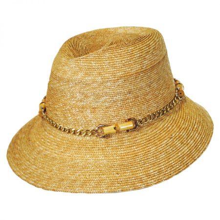 Gottex Willow Milan Straw Fedora Hat