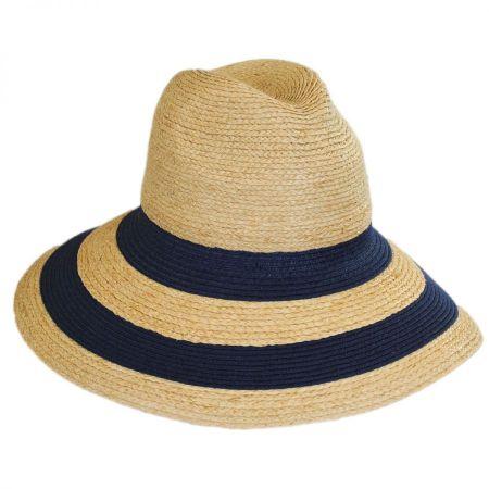 Newport Raffia Straw Wide Brim Fedora Hat