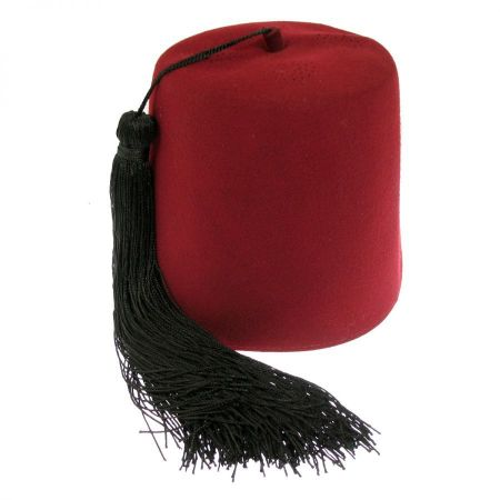 Hatcrafters Turkish Deluxe Wool Felt Fez with Black Tassel