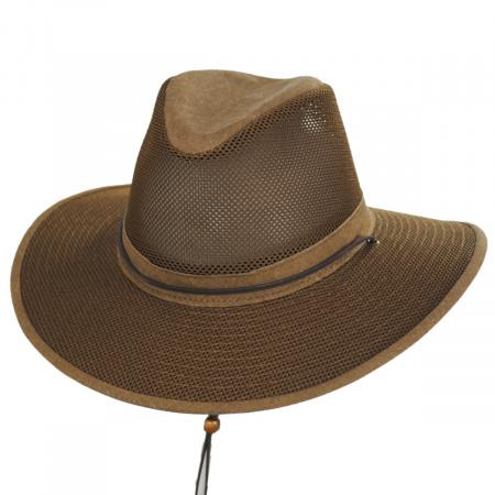 Mesh Aussie Fedora Hat with Chincord alternate view 1