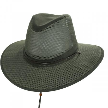 Mesh Aussie Fedora Hat with Chincord alternate view 2
