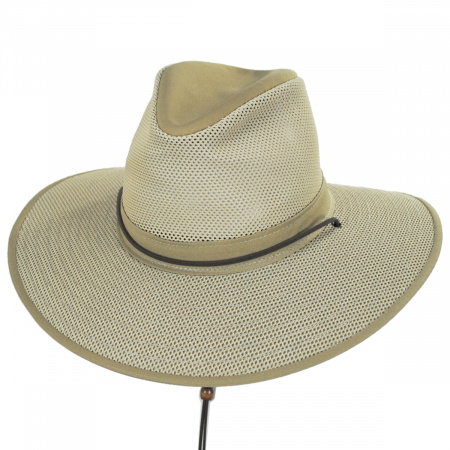 Henschel Mesh Aussie Fedora Hat with Chincord