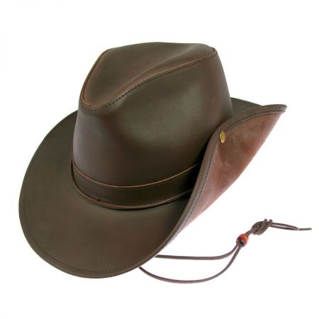 Brown Leather Fedora at Village Hat Shop a51029519d