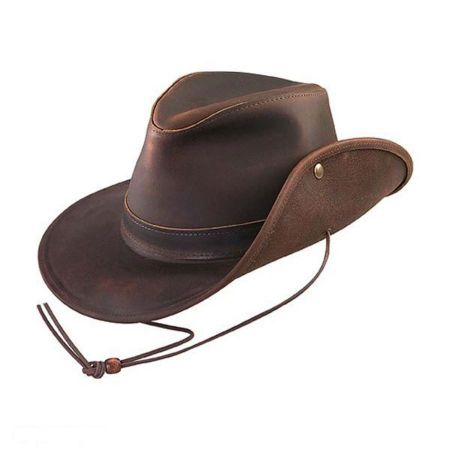Henschel Oiled Leather Aussie Fedora Hat - 3X