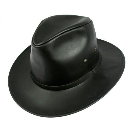 Leather Safari Fedora Hat - 2X alternate view 1