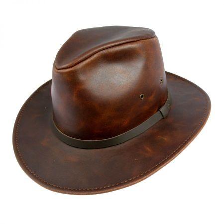 Leather Safari Fedora Hat - 3X alternate view 1