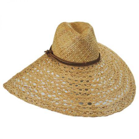 ale by Alessandra Verona Raffia Straw Open Weave Wide Brim Fedora Hat