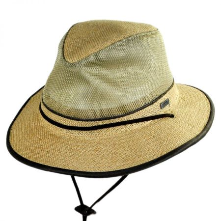 Mesh Crown Hemp Straw Safari Fedora Hat alternate view 16