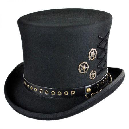 Steampunk Wool Felt Top Hat alternate view 1