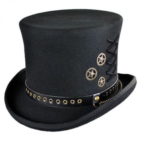 Conner Steampunk Wool Felt Top Hat