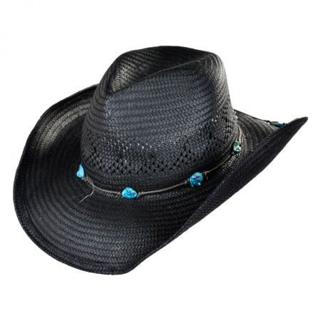 Conner Western Straw Hat w/ Turquoise Nuggets