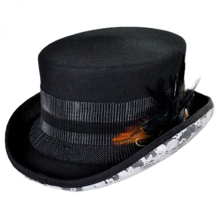 Conner White Lace Steampunk Top Hat