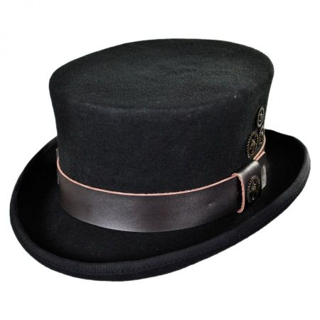 Conner Time Travel Steampunk Wool Felt Top Hat