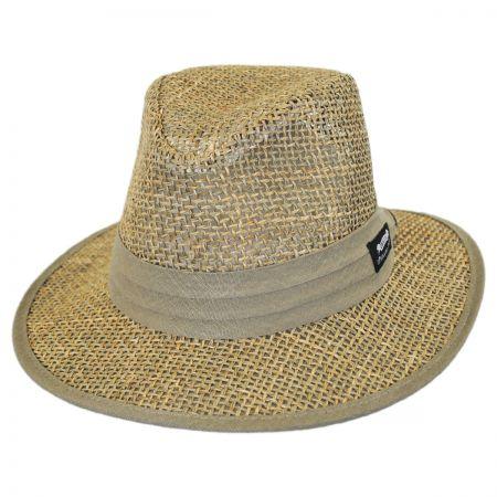 Panama Jack Seagrass Straw Safari Fedora Hat