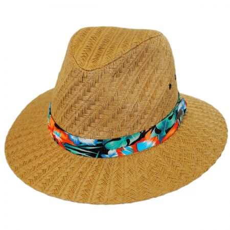 Panama Jack Tropical Band Toyo Straw Safari Fedora Hat