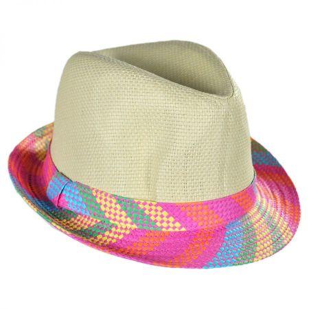 San Diego Hat Company Kids' Plaid Brim Toyo Straw Fedora Hat
