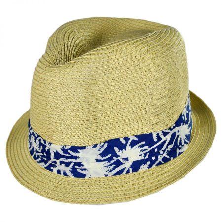 San Diego Hat Company Kids' Palm Tree Band Toyo Straw Fedora Hat