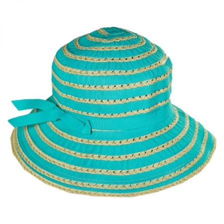 San Diego Hat Company Kids' Ribbon Toyo Straw Bucket Hat