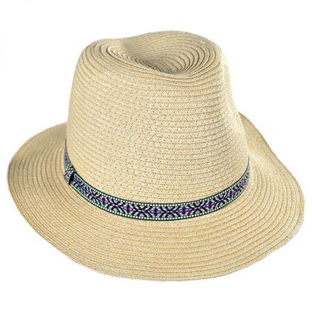 San Diego Hat Company Kids' Jacquard Band Toyo Straw Fedora Hat