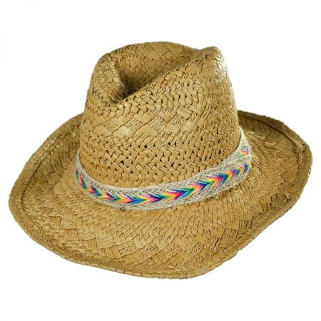 San Diego Hat Company Kids' Rainbow Band Toyo Straw Cowboy Hat