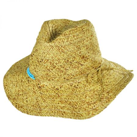 San Diego Hat Company Turquoise Beaded Toyo Straw Fedora Hat