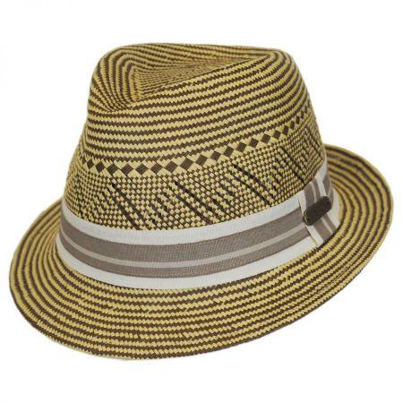 Panama Striped Straw Fedora Hat alternate view 1