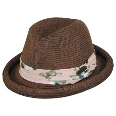 Roll Up Brim Straw Fedora Hat alternate view 1