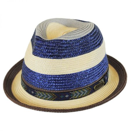 Striped Straw Fedora Hat alternate view 1
