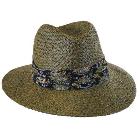Hatch Hats Printed Band Straw Safari Fedora Hat