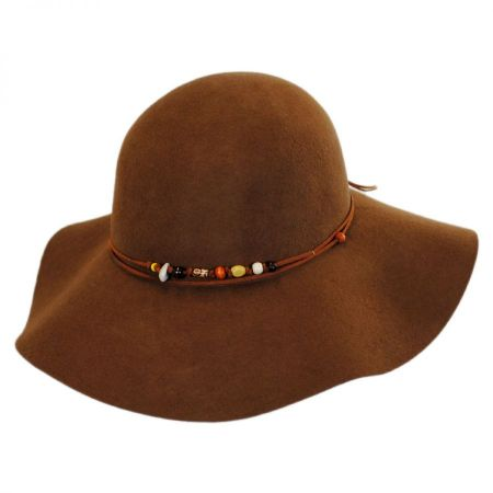 Bead Trim Wool Felt Floppy Hat