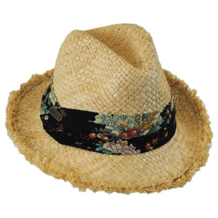 Country Floral Band Straw Fedora Hat alternate view 1