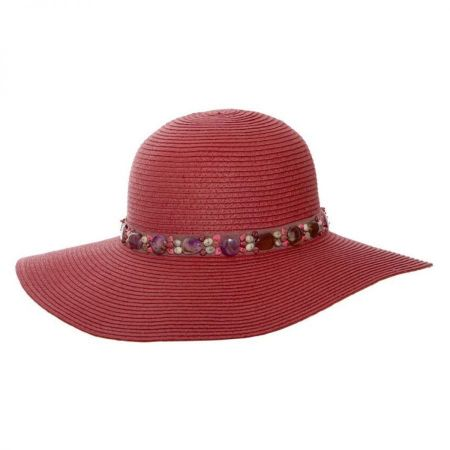 Pebble Trim Toyo Straw Floppy Sun Hat