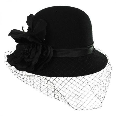 Swan 'Cashmere' Veil Cloche Hat