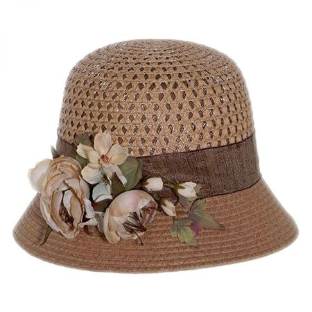 Toucan Collection Rose Branch Packable Toyo Straw Cloche Hat