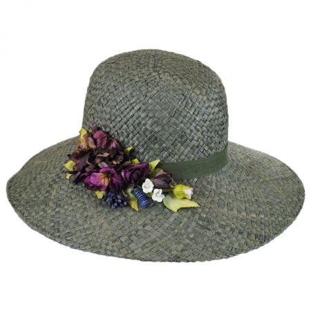 Toucan Collection Rosette Raffia Straw Down Brim Hat