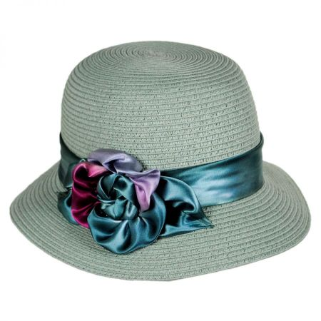 Toucan Collection Pansy Packable Toyo Straw Cloche Hat fa0ef7511388