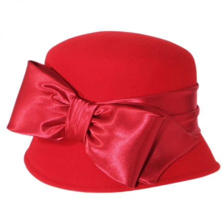 Satin Bow Wool Felt Cloche Hat