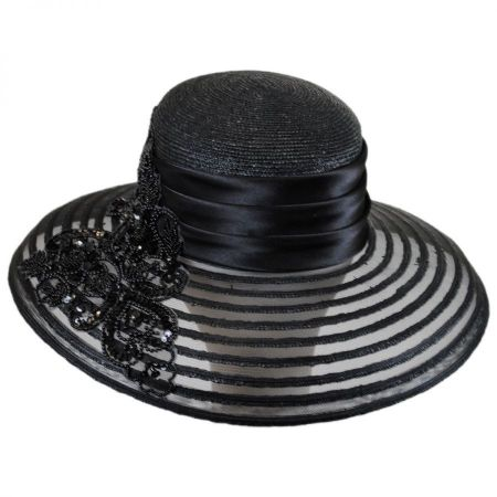 Toucan Collection Beaded Striped Brim Lampshade Hat