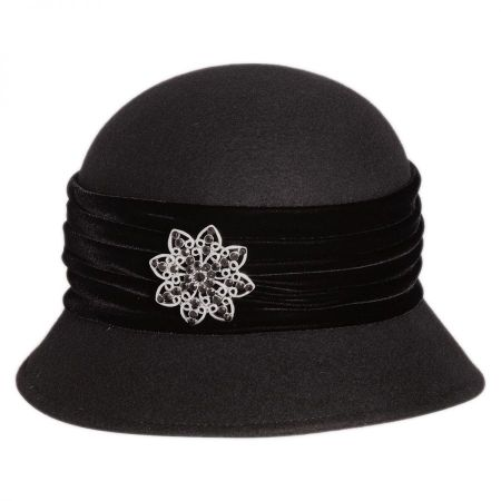 Brooche Wool Felt Cloche Hat alternate view 1