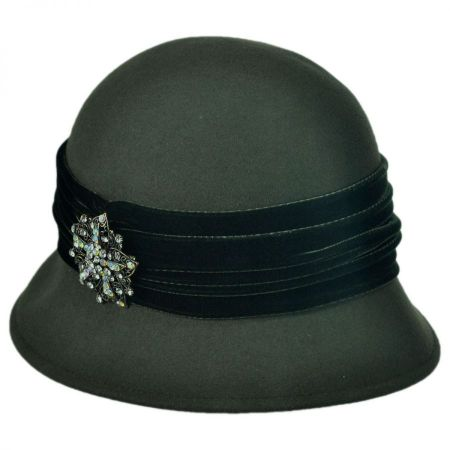 Brooche Wool Felt Cloche Hat alternate view 3