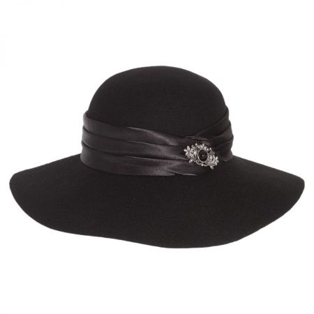 Satin Brooch Wool Felt Floppy Hat